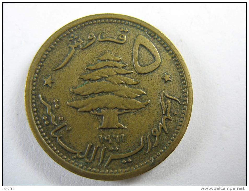 LEBANON LIBAN 5  PIASTRES 1961 NICE COIN LOT 20 NUM 12 - Liban
