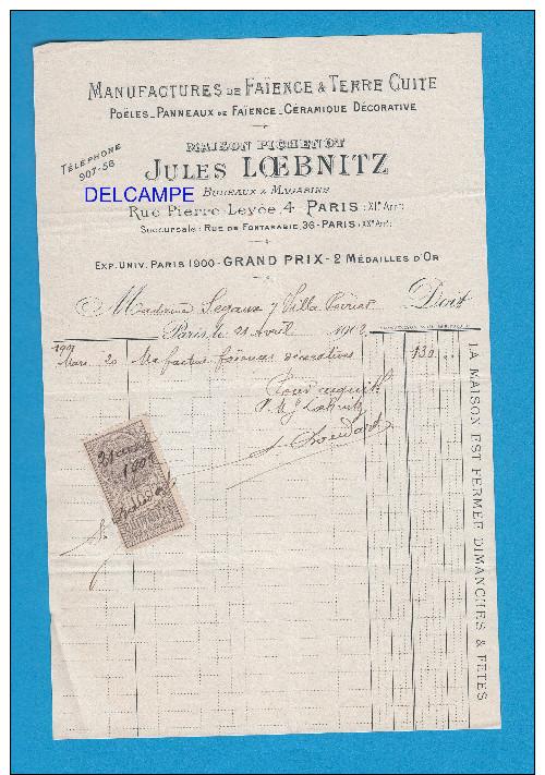 Facture Ancienne De 1902 - PARIS 11e - Maison Pichenot , Jules LOEBNITZ - Faience & Terre Cuite - Rue Pierre Levée - France