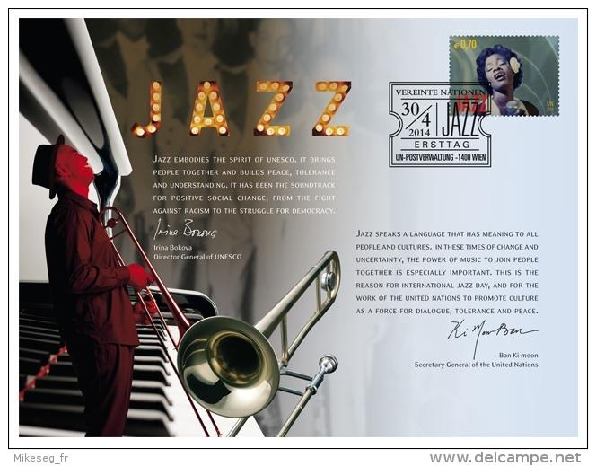 ONU Vienne 2014 - Carte Souvenir Jazz - FDC