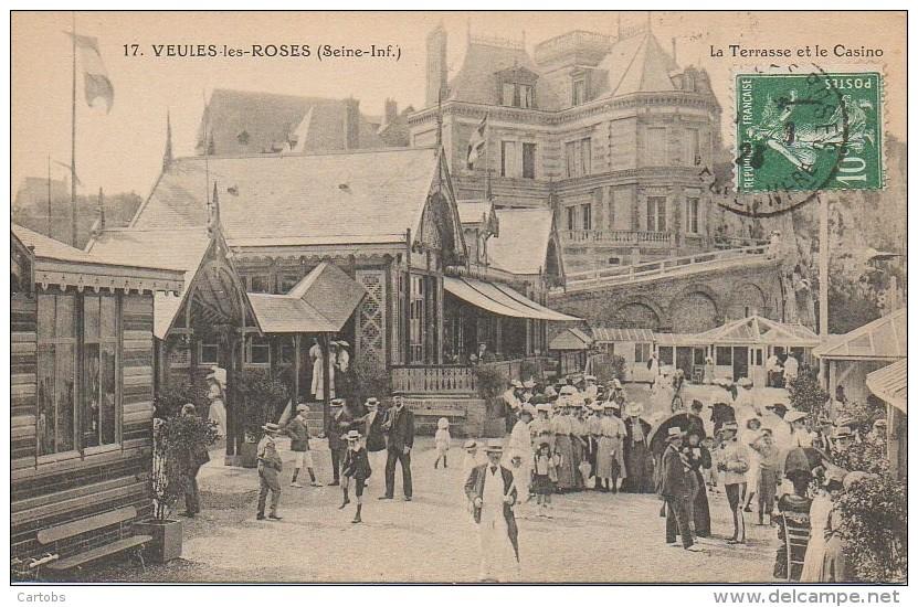 76 VEULES-les-ROSES  La Terrasse Et Le Casino (très Animée) - Veules Les Roses