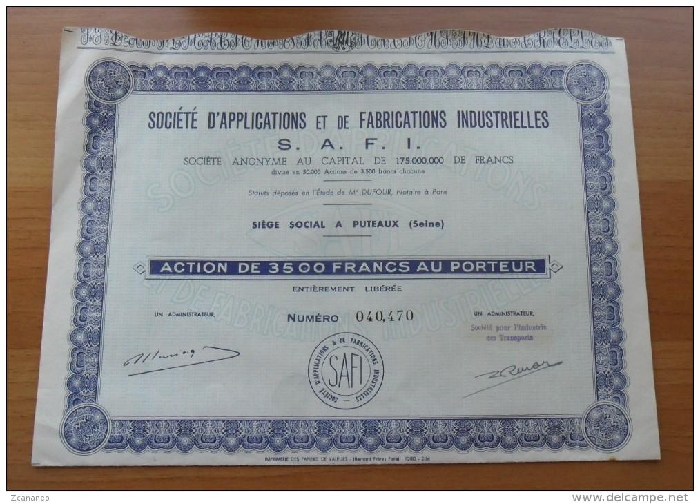 SOCIETE D'APPLICATIONS ET DE FABRICATIONS INDUSTRIELLES - S.A.F.I. ACTION DE 3500 FRANCS AU PORTEUR - - Azioni & Titoli