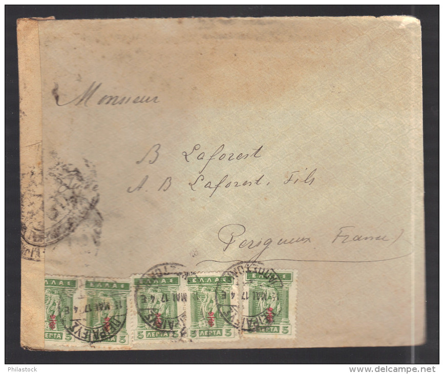 GRECE 1914/1918 Usages Courants Obl. S/enveloppe Censure Militaire Française - Lettres & Documents