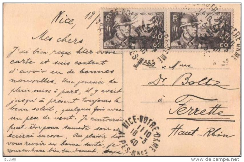 CPA Carte Postale Voyagé NICE La Promenade Des Anglais Palais Méditerranée 1940 Vers FERRETTE (Haut-Rhin) - Monuments, édifices