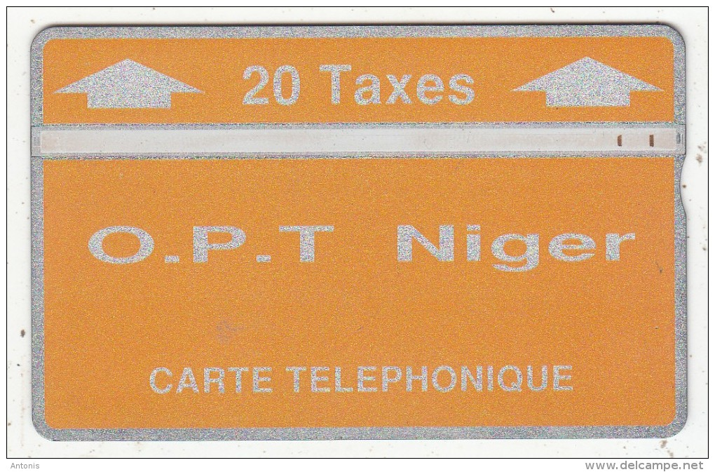 NIGER - Orange & Silver, OPT Niger Logo, Second Issue 20 Taxes, CN : 404C, Tirage 5000, Used - Niger
