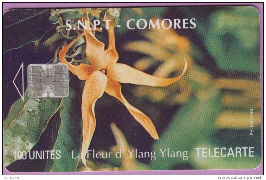 Télécarte Comores °° 100 Units °= Fleur D´Ylang-ylang  - N) Verso C5B154996 *  B E - Comores
