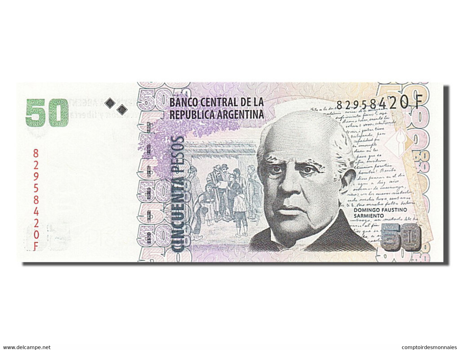 [#255285] Argentine, 50 Pesos Argentinos, Type Domingo Faustino Sarmiento - Argentine