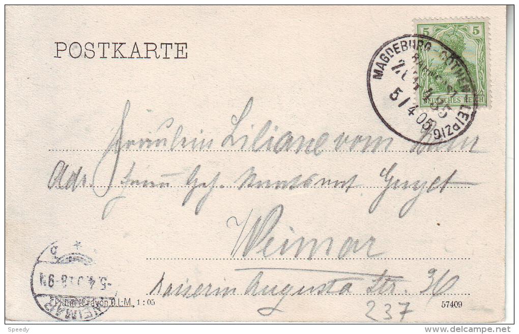 "BAHPOST : AMBULANT : ZK (HALLE)  PZ (Reich) "" MAGDEBURG - COTHEN - LEIPZIG / BAHNPOST / ZUG 435 / 5.4.05"" - Allemagne"