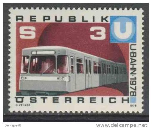 Oostenrijk Austria Österreich 1978 Mi 1567 YT 1397 ** Inbetriebnahme Des Ersten Teilstückes Der Wiener U-Bahn - Treinen