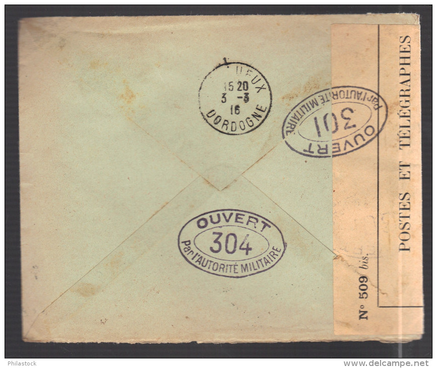 GRECE 1914/1918 Usages Courants Obl. S/enveloppe Censure Militaire Française - Covers & Documents