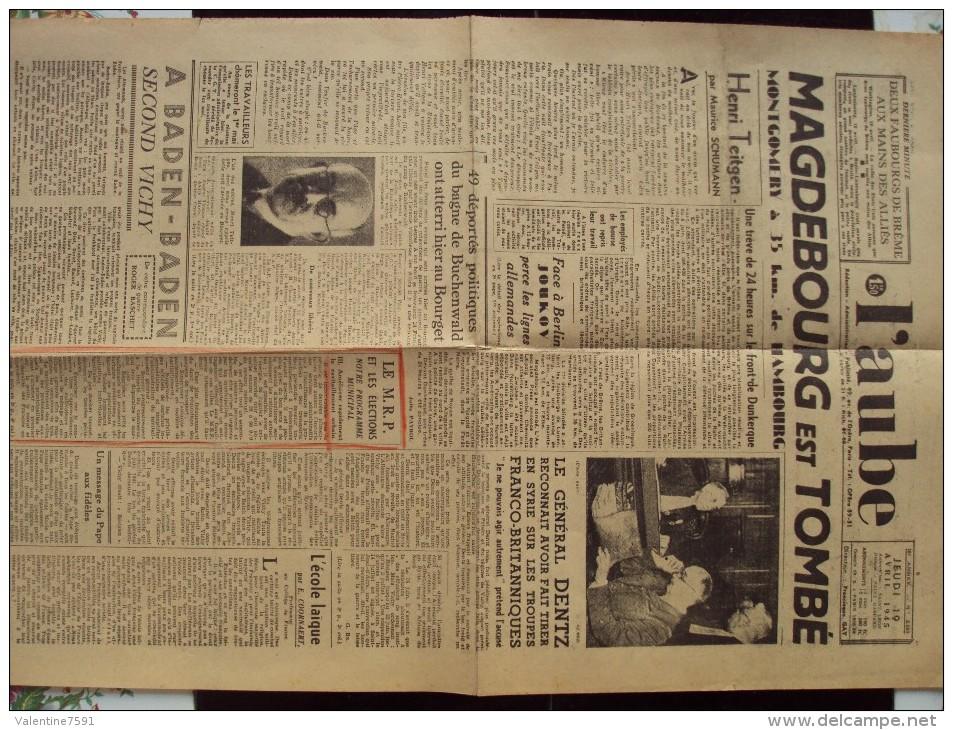 Journal L´ AUBE -  Le Jeudi 19 Avril 1945- Recto-verso-2 Pages - Plis Courrier-bon état - Newspapers