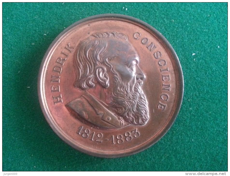 Hendrik Conscience, Oprichting Praalgraf 19/9/1886 (M. Vermeiren), 72 Gram (medailles0028) - Autres