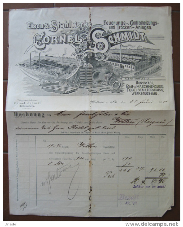 FATTURA EISEN & STAHLWERKE FEUERUNGS CENTRALHEIZUNGS UND TROCKEN ANLAGEN CORNEL SCHMIDT MULHEIM AN DER RUHR ANNO 1901 - Austria