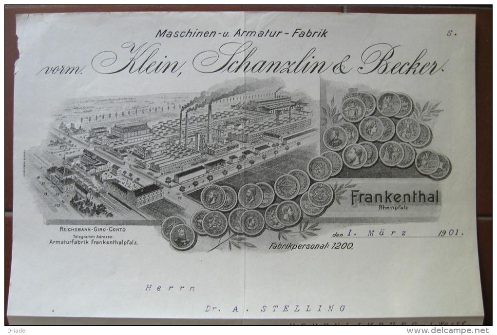 FATTURA  MASCHINEN U. ARMATUR FABRIK KLEIN SCHANZLIN & BECKER FRANKENTHAL RHEINPFALZ ANNO 1901 ANNO 1901 - Austria