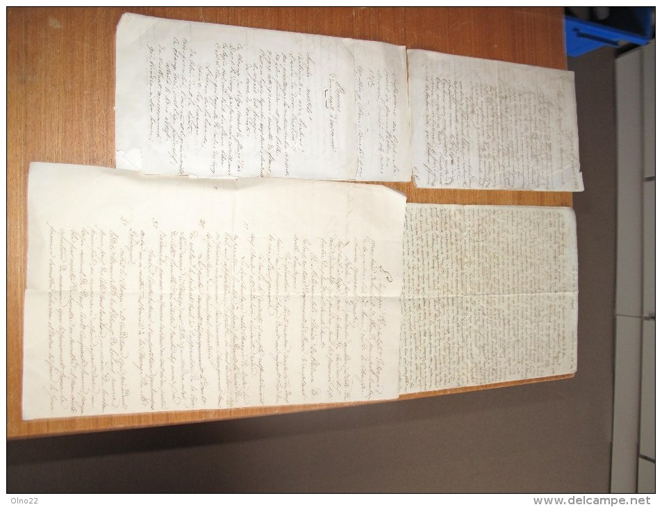 4 DOCUMENTS (lettres Poemes) Manuscrit XIXe Siècle - - Handtekening