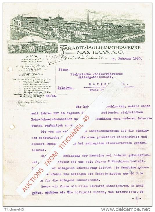 Brief 1930 CHEMNITZ-REICHENHAIN - FARADIT-ISOLIERROHRWERKE MAX HAAS - Allemagne