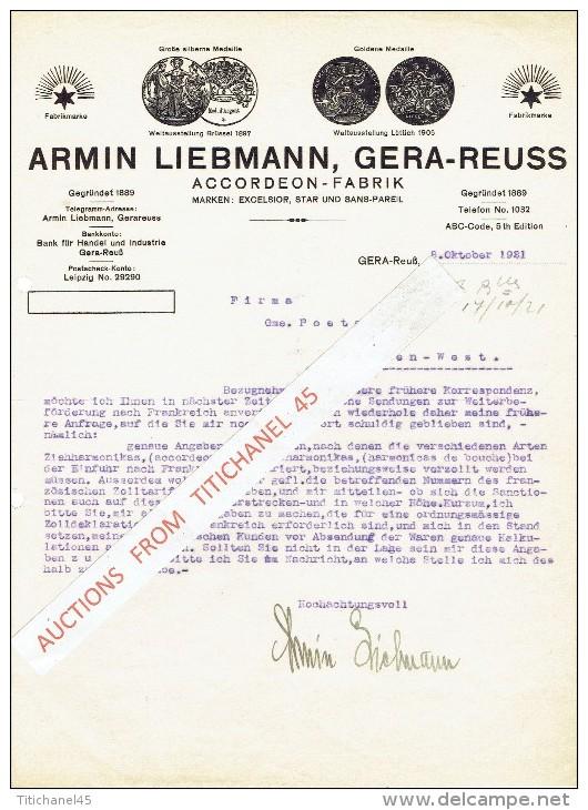 """Brief 1921 GERA-Reuss - ARMIN LIEBMANN - Accordeon-fabrik - Marken : """"Excelsior"""",""""Star"""" Und """"Sans-Pareil"""" - Allemagne"""