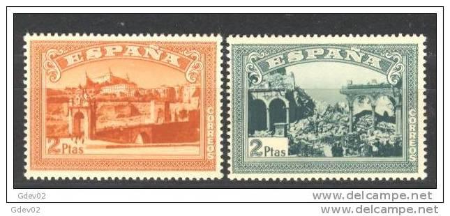 ESSH836-L3627TARO.España . Spain  Espagne.ANIVERSARIO ALZAMIENTO NACIONAL TOLEDO. SH 1937(Ed.836/7SH) Sin Charnela.LUJO - Arquitectura