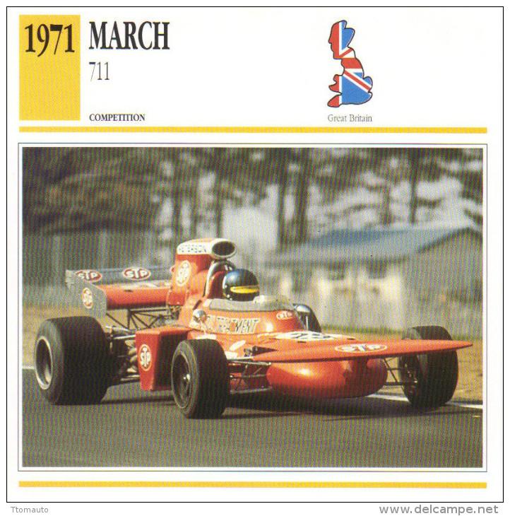 Fiche  -  Formula 1 Grand Prix Cars  -  March 711  -  Pilote Ronnie Peterson  -  Carte De Collection - Grand Prix / F1