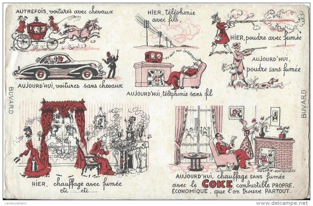 Charbon/Chauffage Sans Fumée Avec Le COKE/ Combustible Propre Et économique /Vers 1945-1955    BUV131 - Buvards, Protège-cahiers Illustrés