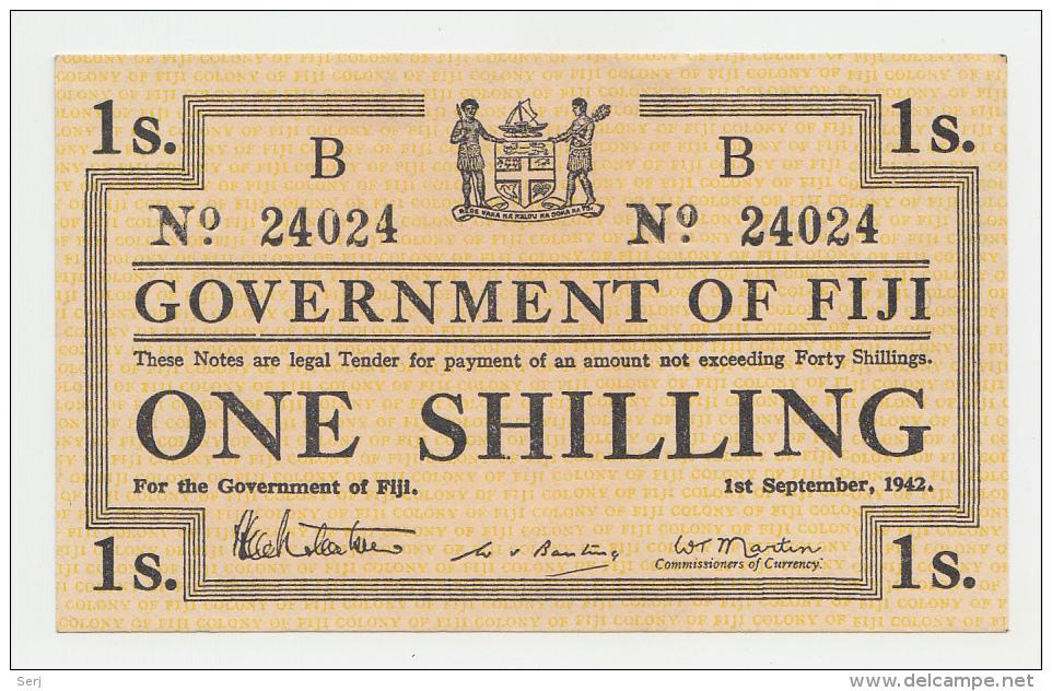 Fiji 1 Shilling 1942 AUNC+ P 49b  49 B - Fiji