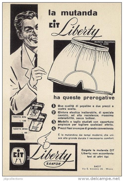 # MUTANDE CIT LIBERTY 1950s Advert Pubblicità Publicitè Reklame Underclothes Lingerie Ropa Intima Unterkleidung - Signore