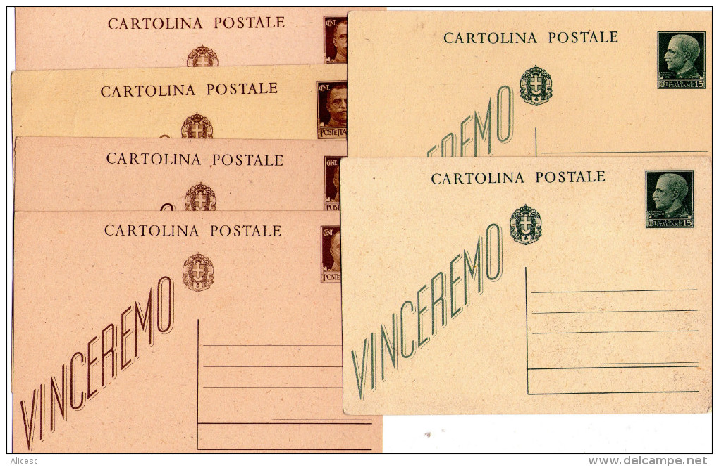 ITALIA  Intero Postale   Regno  Lotto Di 6 Cart . Nuove   Vinceremo - Italia