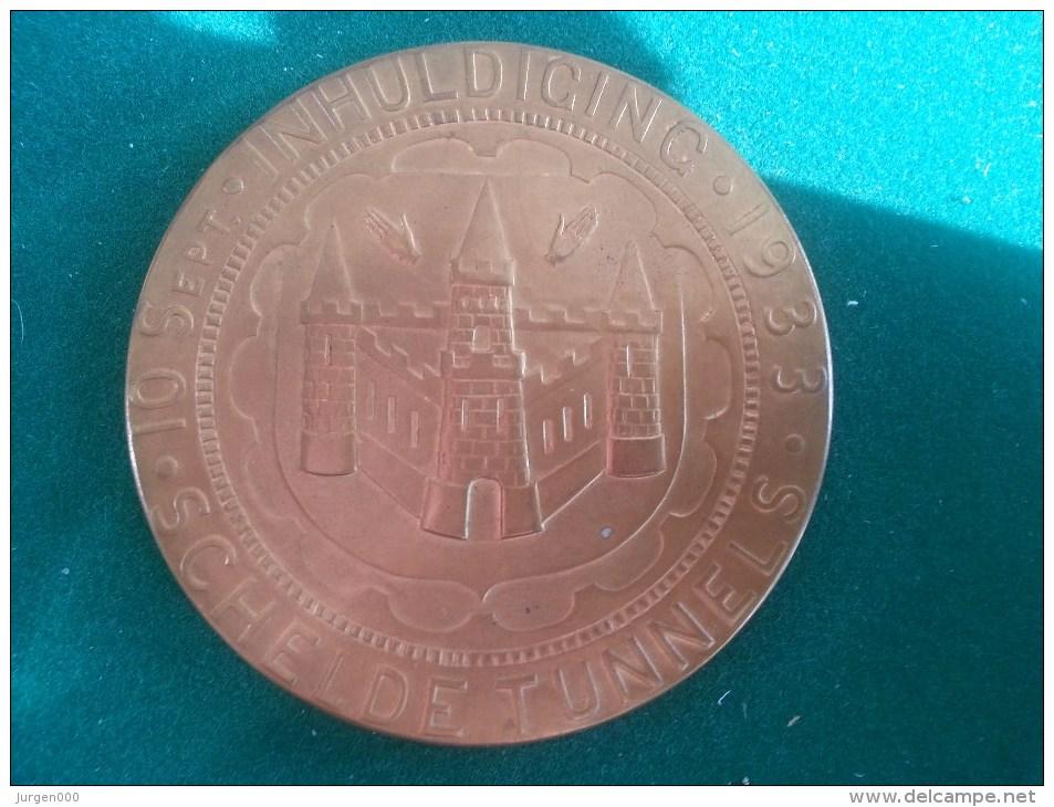 Inhuldiging Scheldetunnel, Imalso, 10/9/1933 (Philo Van Riel), 128 Gram (medailles0078) - Belgique