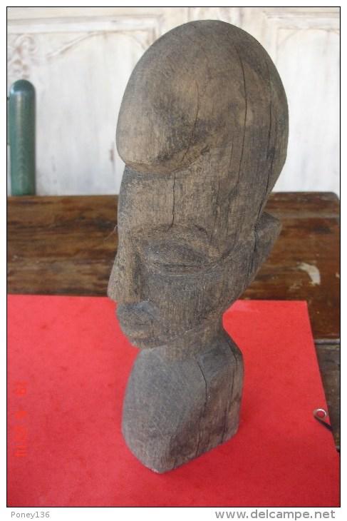 Statuette Tête De Dogon,début XXè Bon état.H:28,5 Cms - Art Africain