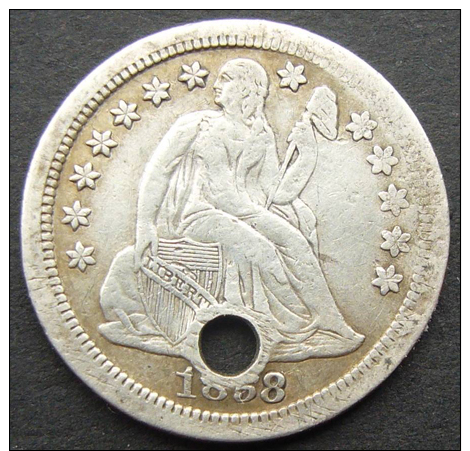1858, USA, SEATED LIBERTY DIME, 10 CENTS COIN  SILVER -  **SEE PHOTOS** WITH HOLE - Federal Issues