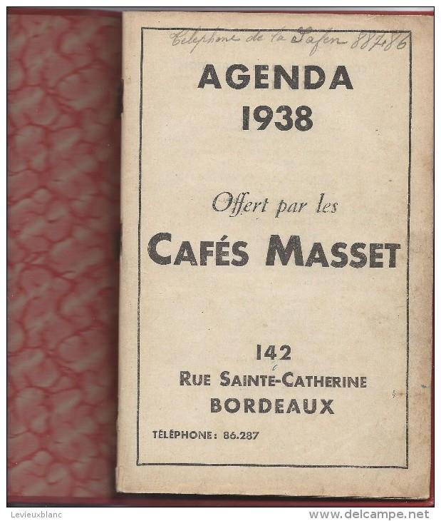 Agenda Des Cafés MASSET/Rue Sainte Catherine / BORDEAUX/ 1938 - Autres
