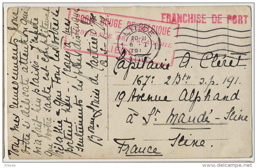 Liege Carte Photo Croix Rouge Ambulance Cachet Baronne Louise De Cartier Vers Capitaine Cleret - Liege