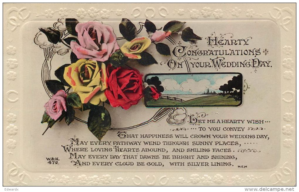 Wedding Day Marriage Greetings Postcard Used Posted To UK 1934 Stamp Wildt & Kray RP Flowers - Marriages