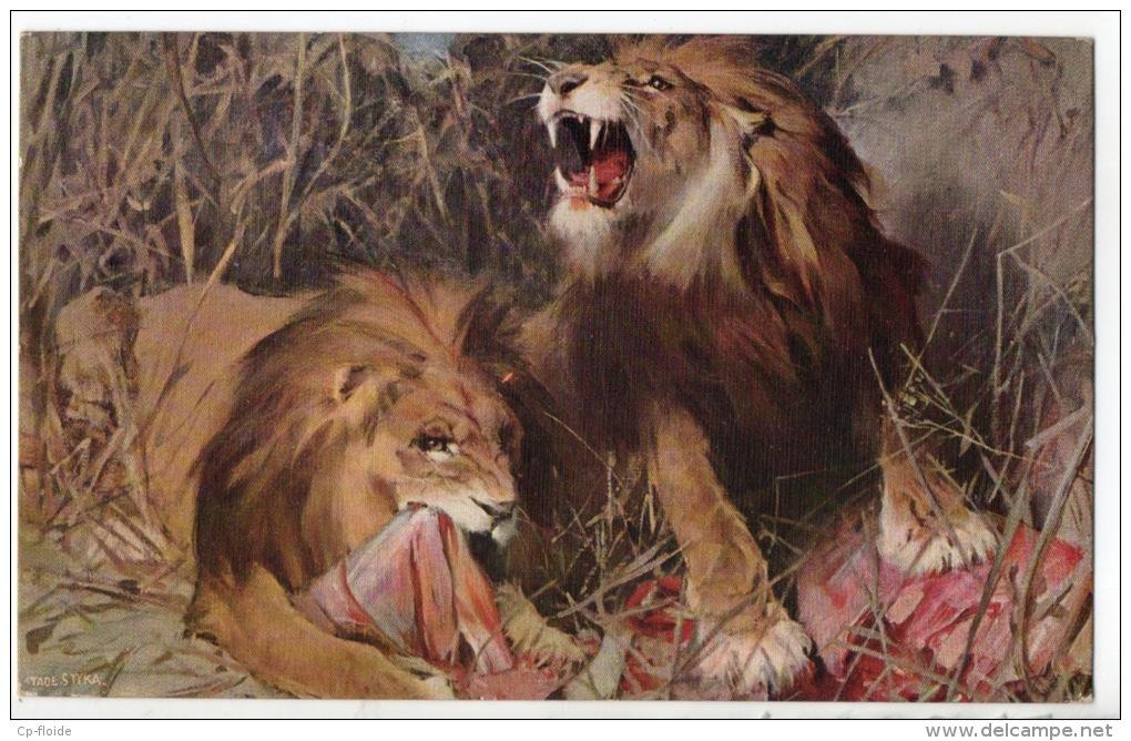 ILLUSTRATEUR . TADÉ STYKA . LES LIONS - Réf. N°1525 - - Lions