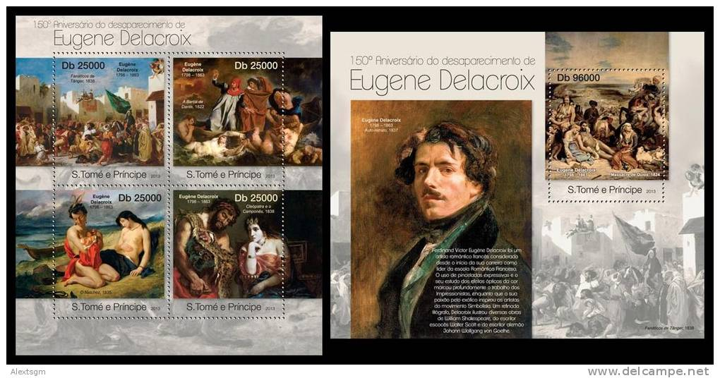 S. TOME & PRINCIPE 2013 - Eugene Delacroix M/S + S/S. Official Issue - Sao Tome En Principe