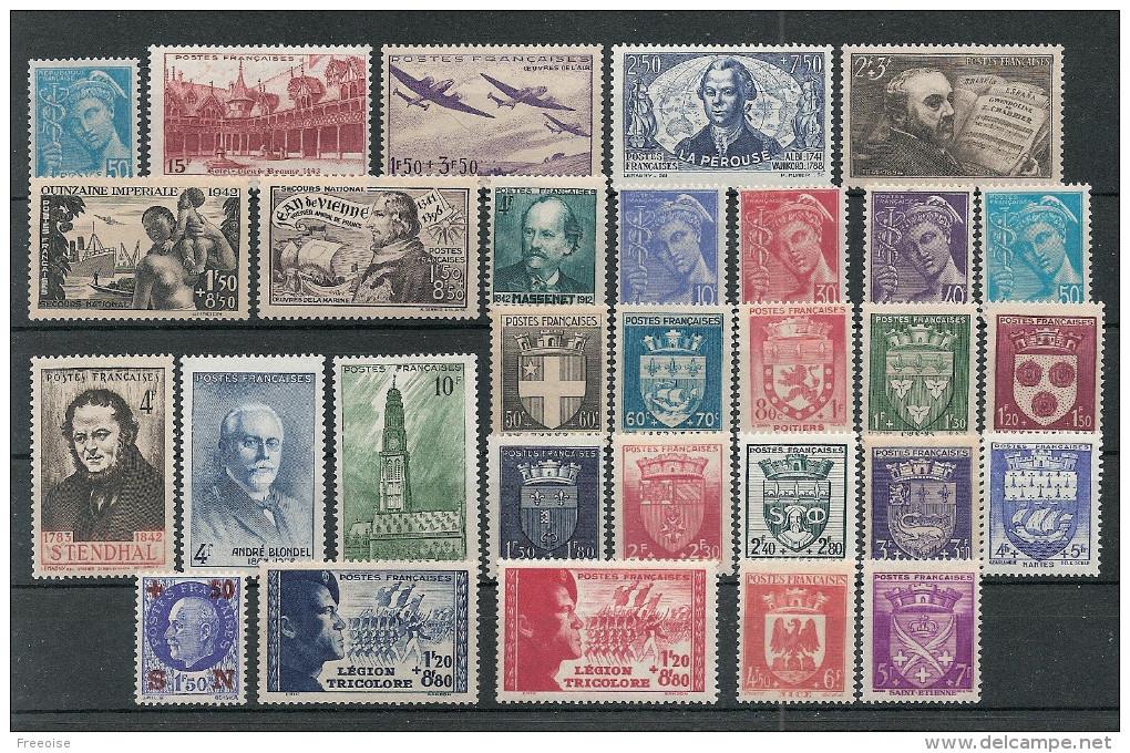 Timbres France Neufs ** - Année 1942 Complète - 1950-1959
