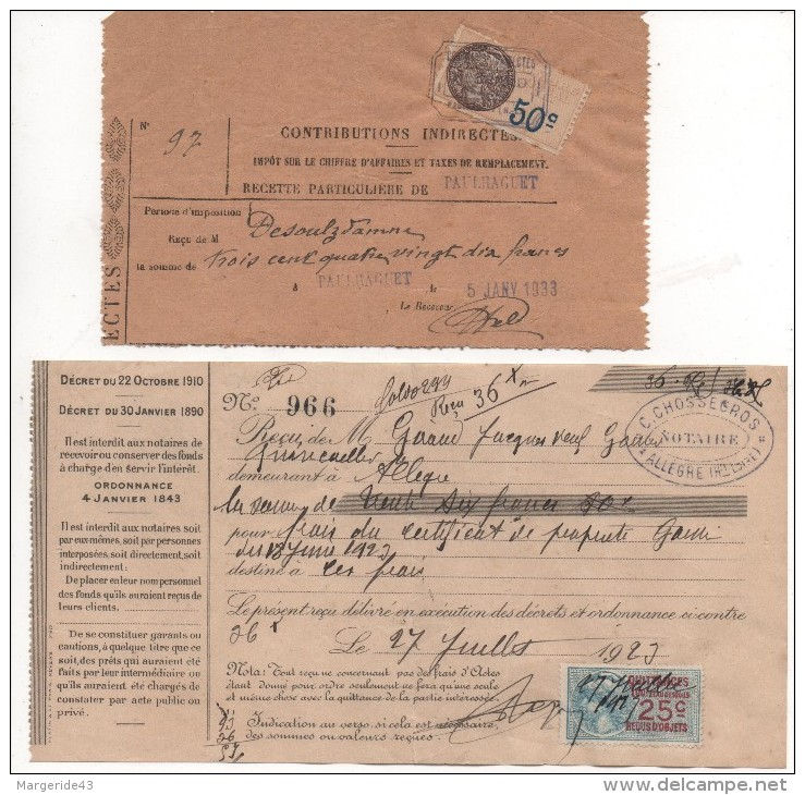 LOT DE FISCAUX SUR DOCUMENTS DIVERS - Revenue Stamps