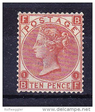 1867/80  SG 114 */**  Queen Victoria 10 D. Red-brown Platte 1 - Neufs