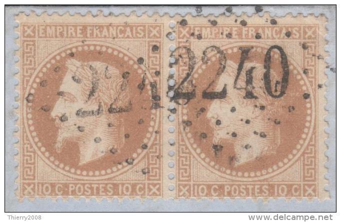 Napoléon III Lauré N° 28B Avec Oblitération Losange 2240 En Paire Sur Lettre  TB - 1863-1870 Napoléon III Lauré