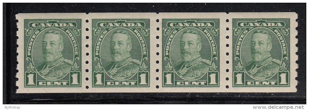 Canada MNH Scott #228 1c George V Pictorial Strip Of 4 2nd Stamp From Left Has Malformed ´1´ - Variétés Et Curiosités