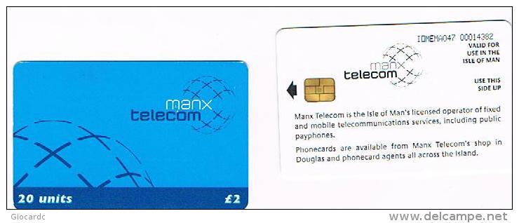 ISLE OF MAN - MANX TELECOM (CHIP) -  2002  DEFINITIVE BLUE - CODE IOM47-USED-RIF.7786 - Isola Di Man