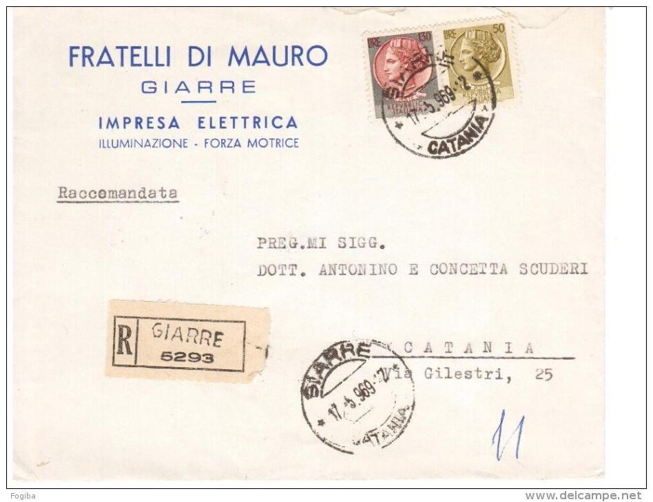 STORIA POSTALE REPUBBLICA -LETTERA PUBBLICITARIA  GIARRE 130+50£ SIRACUSANA  (AG122) - 1961-70: Storia Postale