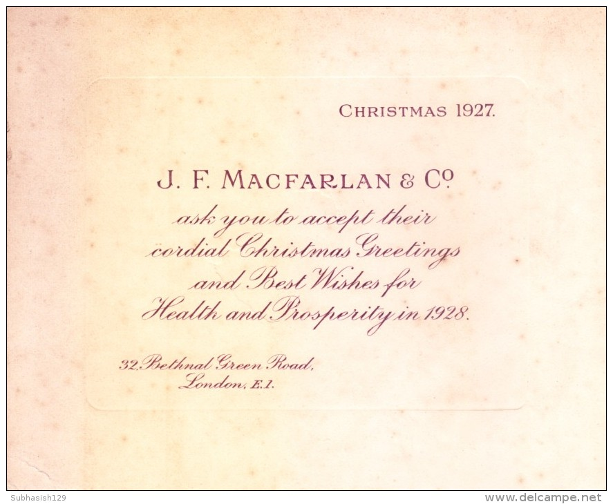 VERY OLD & VINTAGE GREETINGS CARD - 1927 - CHRISTMAS AND NEW YEAR GREETINGS - PRINTED AT GREAT BRITAIN - Other