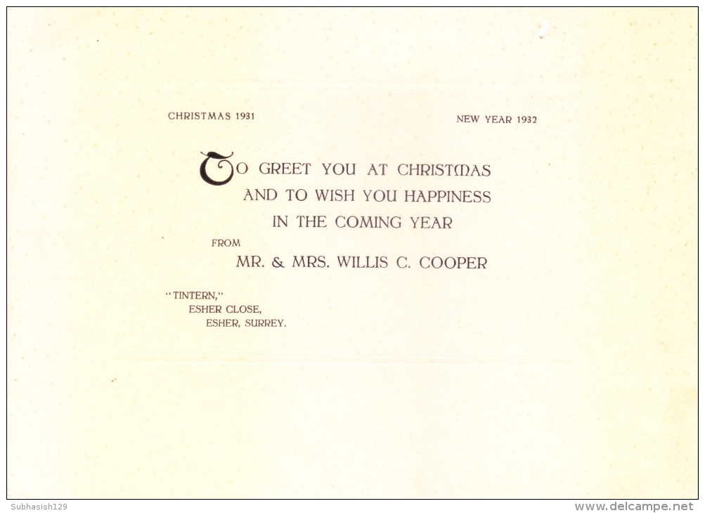 VERY OLD & VINTAGE GREETINGS CARD - 1932 CHRISTMAS AND NEW YEAR GREETINGS - PRINTED AT GREAT BRITAIN - Magnets