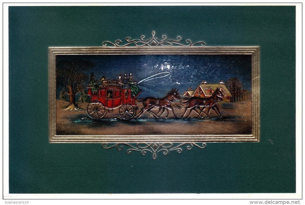 VERY OLD & VINTAGE GREETINGS CARD -  CHRISTMAS  GREETINGS AND NEW YEAR - PRINTED AT GREAT BRITAIN - Magnets