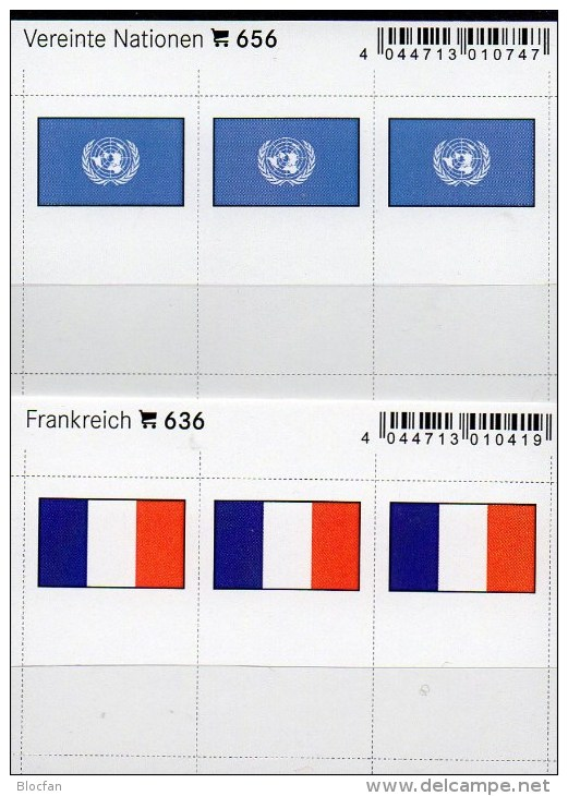 In Farbe 2x3 Flaggen-Sticker Frankreich+UNO 4€ Kennzeichnung An Alben Karten Sammlungen LINDNER 636+656 Flags FRANCE ONU - Unclassified