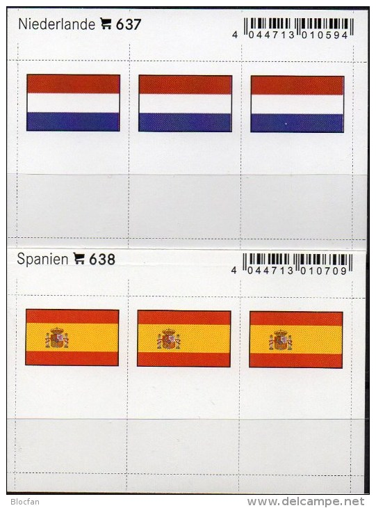 In Color 2x3 Flaggen-Sticker ESPANA+Nederland 4€ Kennzeichnung Alben Karten Sammlung LINDNER 638+637 Flags E Niederlande - Photography