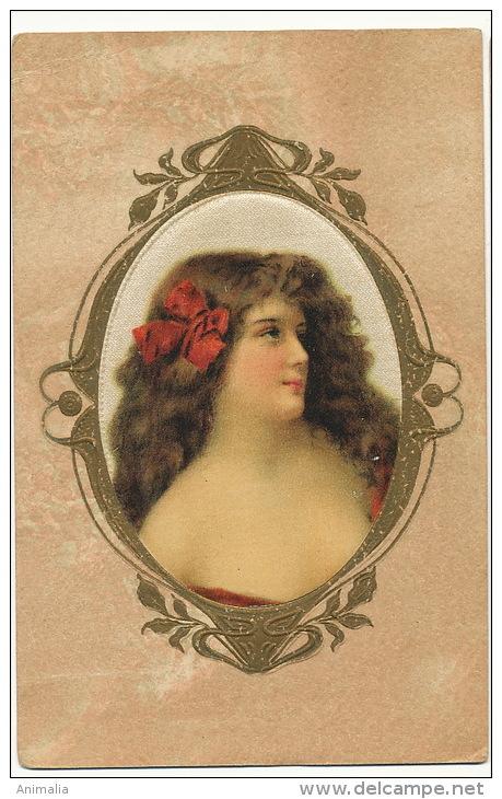 Carte Soie Portrait Medaillon Gaufrée Belle Femme Silk Card Embossed - Cartes Postales