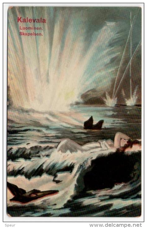 Symbolic Postcard - Kalevala Luominen. Skapelsen, ± 1910 - Finlande