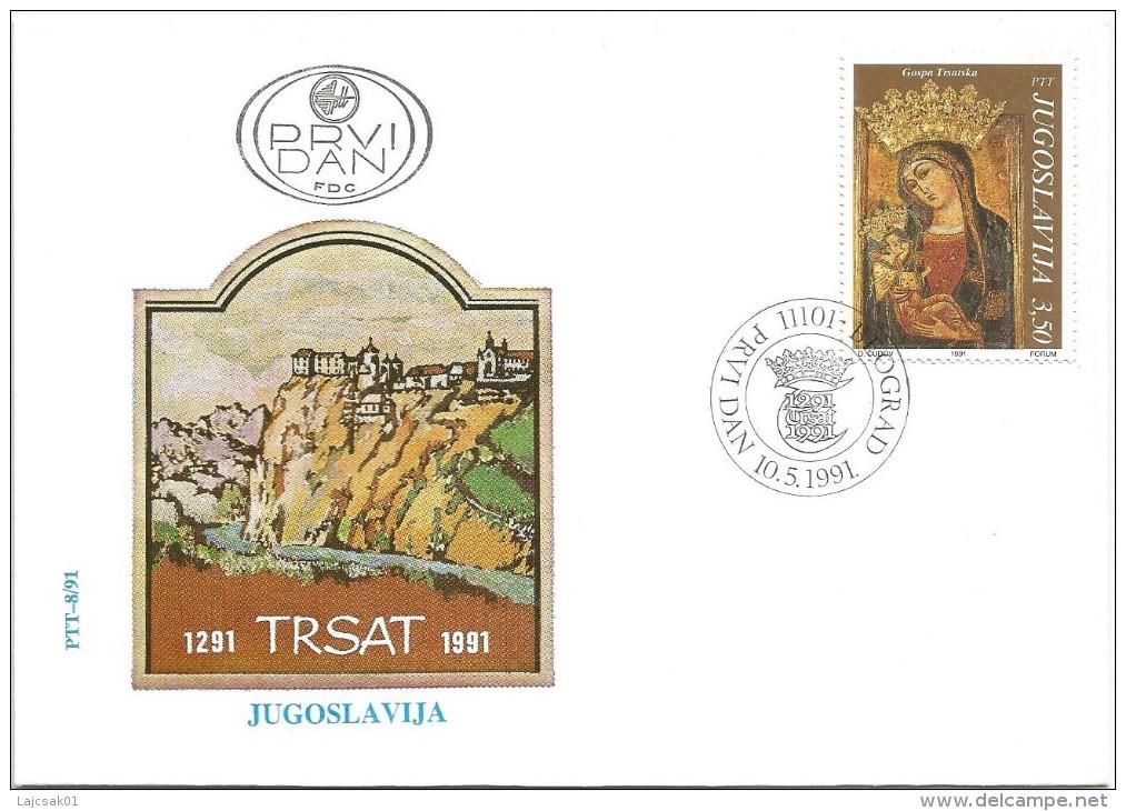 Yugoslavia 1991. FDC  Monastery Trsat Icon Fresco - FDC