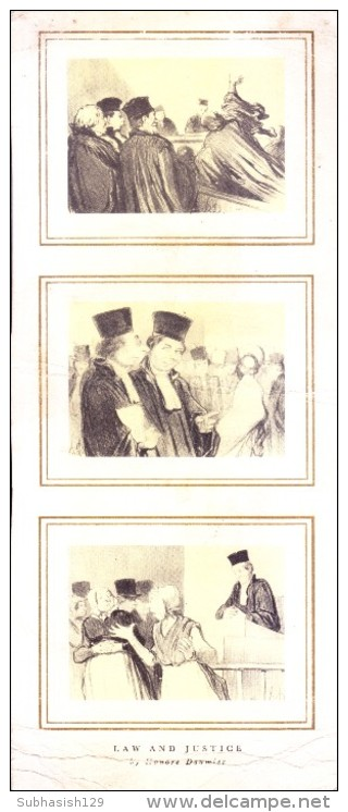 VERY OLD & VINTAGE GREETINGS CARD - LAW AND JUSTICE  - BY HONORE DAUMIER - Magnets